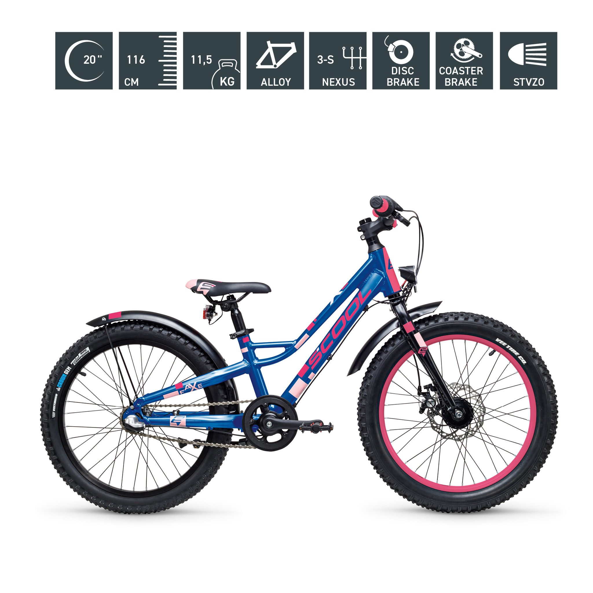 S'COOL faXe 20 Zoll 3-Gang blue-pink-matt